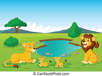 Cartoon lion family near watering h