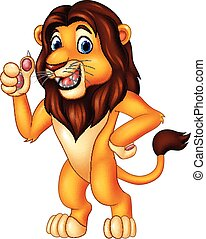 Cartoon lion giving thumb up