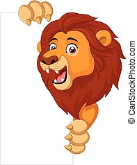Cartoon lion holding blank sign