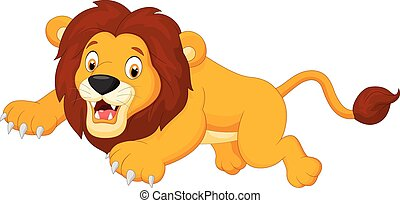 Cartoon lion jumping