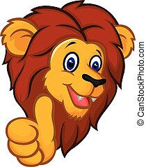 Cartoon lion mascot giving thumbs u - Vector illustration of...