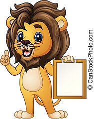 Cartoon lion pointing with holding a clipboard