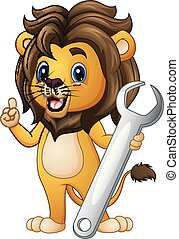 Cartoon lion pointing with holding a wrench