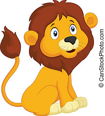 Cartoon lion sitting