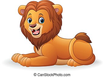 Cartoon lion sitting