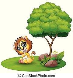 Cartoon lion sitting under a tree on a white background