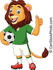 Cartoon lion soccer showing thumb up