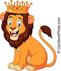 Cartoon lion wearing a crown - Vector illustration of ...