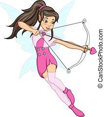 Cartoon little angel girl with bow and love arrow