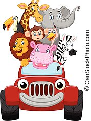 Cartoon little animal happy with re