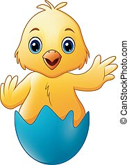 Cartoon little baby chicken in the blue broken egg shell