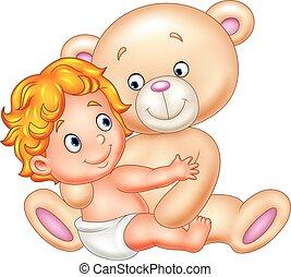Cartoon little baby with teddy bear