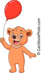 Cartoon little bear holding a red balloon