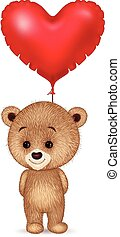 Cartoon little bear holding red heart balloon