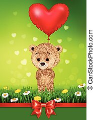 Cartoon little bear holding red shape balloon