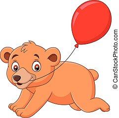 Cartoon little bear with a red balloon