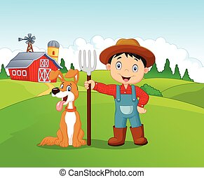 Cartoon little boy and dog in the f