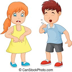 Cartoon little boy coughing