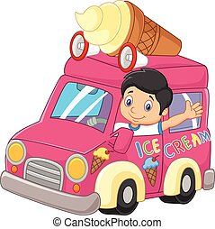 Cartoon little boy driving car and