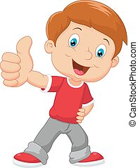Cartoon little boy giving thumb up