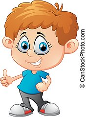 Cartoon little boy giving thumb up - vector illustration of...