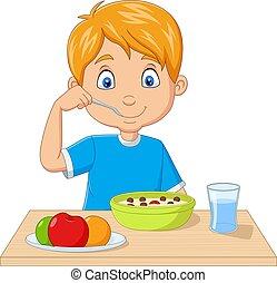 Cartoon little boy having breakfast cereals with fruits