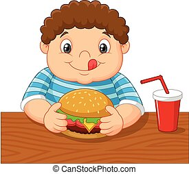 Cartoon little boy holding hamburge