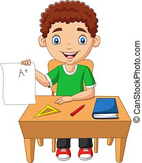 Cartoon little boy holding paper with A plus grade