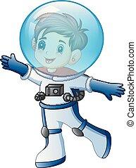Cartoon little boy in astronaut costume