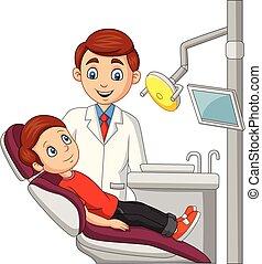 Cartoon little boy in the dentist office