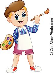 Cartoon little boy painting