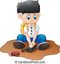 cartoon little boy playing tank