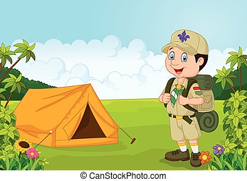 Cartoon little boy scout with tent - Vector illustration of ...