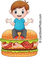 Cartoon little boy sitting on a big hamburger