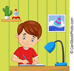 Cartoon little boy studying in the room