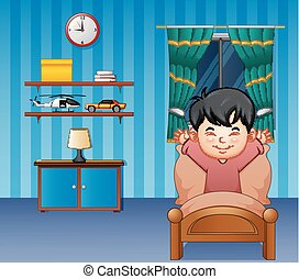 Cartoon little boy waking up in a bed