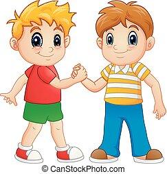 Cartoon little boys shaking hands - Vector illustration of...