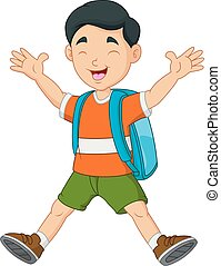 Cartoon little Boys with backpack - Vector illustration of ...