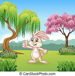Cartoon little bunny giving thumb