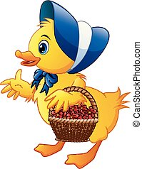Cartoon little duck carrying flowers in a basket with wearing blue hat and bow tie