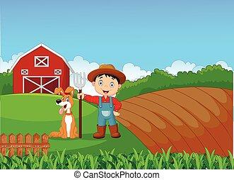Cartoon little farmer and his dog
