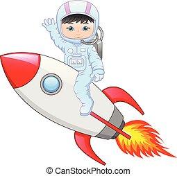 Cartoon little girl an wearing astronaut costume on a rocket