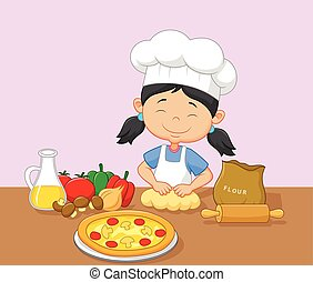 Cartoon little girl baking - Vector illustration of Cartoon...