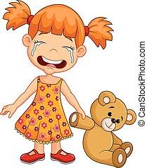 Cartoon little girl crying isolated