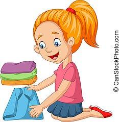 Cartoon little girl folding a clothes