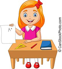 Cartoon little girl holding paper with A plus grade