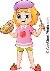 Cartoon little girl painting