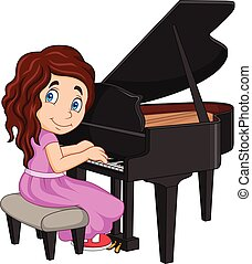 Cartoon little girl playing piano - Vector illustration of...