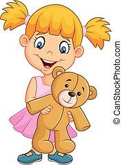 Cartoon little girl playing