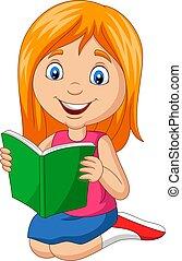 Cartoon little girl reading a book